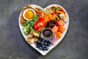 Healthy diet for the cardiovascular system with a heart shaped plate